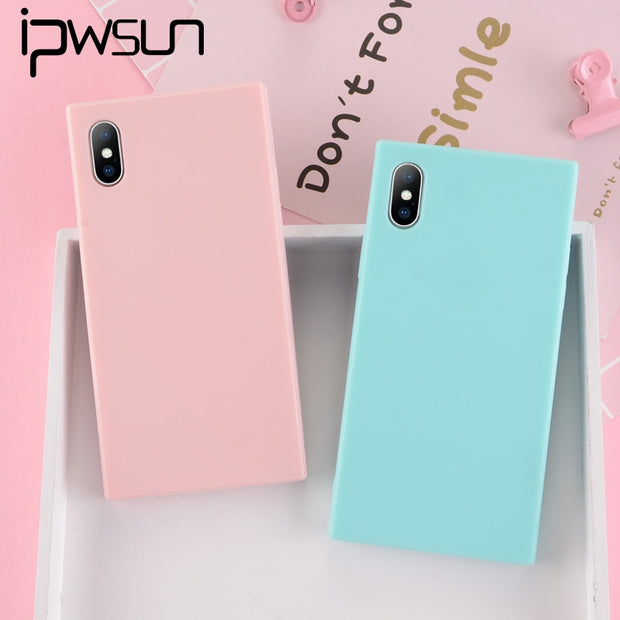 IPWSOO For IPhone 6 6S 7 8 Plus X Capa Fashion Lovely Simple Candy Colors Soft TPU For IPhone 7 Solid Colors Square Phone Cover