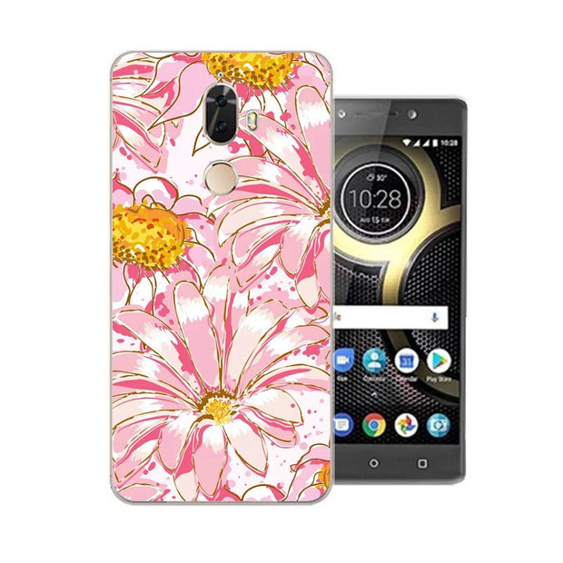 Lenovo K8 Note Case,Silicon Flowers Plant Painting Soft TPU Back Cover For Lenovo K8 Plus Phone Protect Bags Shell