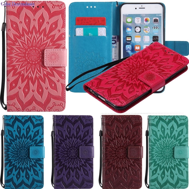 Luxury 3D Printing Sunflower Leather PU Wallet Phone Case For ZTE Axon 7 Case Flip Capa For Coque ZTE Axon7 Cover Funda Bag