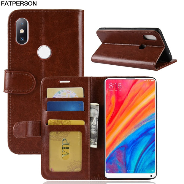 Luxury Bracket Leather Phone Case For Xiaomi Mi MIX 2S Phone Case Wallet Smart Cover For Xiaomi MIX2S Case PU Card Bag Full Capa