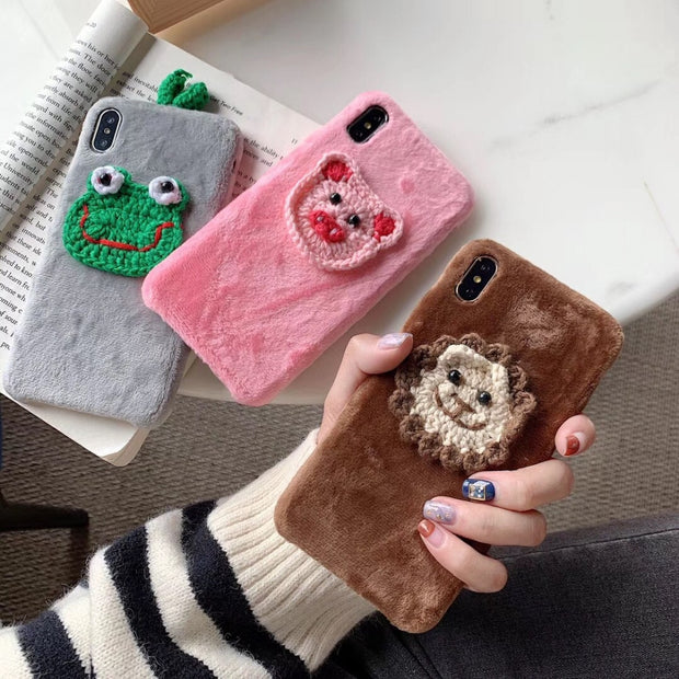 Maosenguoji Korea Fashion Cartoon Animal Luxury Handmad Plush Funny Mobile Phone Case For Iphone 6 6s 6plus 7 8 Plus X XR XS MAX