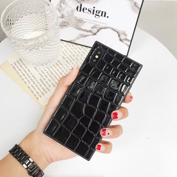 Maosenguoji Square Luxury Crocodile Pattern Funny Mobile Phone Case For Iphone 6 6s 6plus 7 8 Plus 9 X 10 XR XS MAX Fashion Case