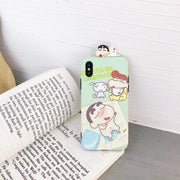 Maosenguoji Cute Cartoon Kneeling Shinchan Bread Superman Funny Mobile Phone Case For Iphone 6 6s 6plus 7 8 Plus 10 X XR XS MAX