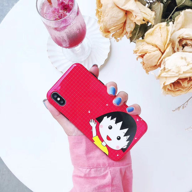 Maosenguoji Cute Cartoon Maruko-chan Rope Funny Lanyard Mobile Phone Case For Iphone 6 6s 6plus 7 8plus X XR XS MAX Fashion Case