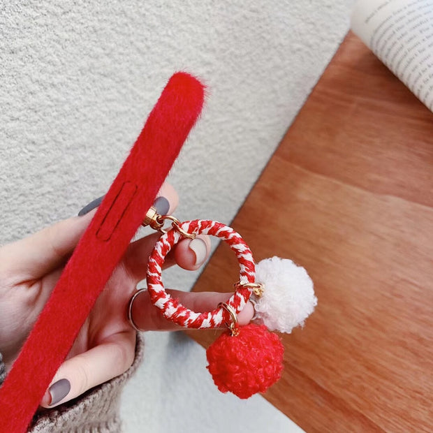 Maosenguoji Fashion Red New Year Luxury Plush Tassel Hairball Mobile Phone Case For Iphone 6 6s 6plus 7 8 Plus X XR XS MAX 6.5