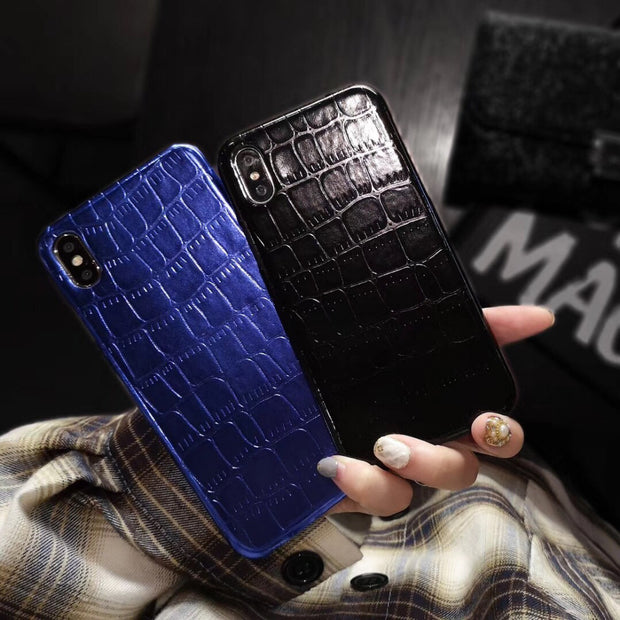 Maosenguoji Luxury Crocodile Pattern Funny Mobile Phone Case For Iphone 6 6s 6plus 7 7plus 8 Plus 9 X 10 XR XS MAX Fashion Case