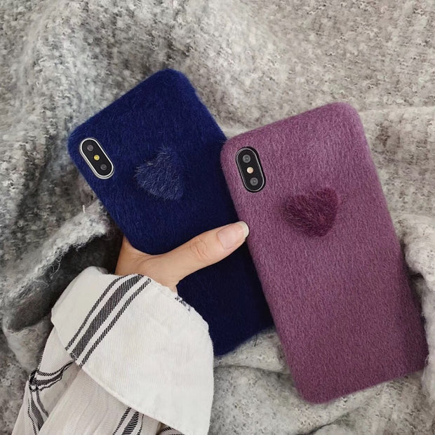 Maosenguoji Winter Korea Plush Horse Hair 3D Love Luxury Fashion Mobile Phone Case For Iphone 6 6s 6plus 7 8 Plus X XR XS MAX