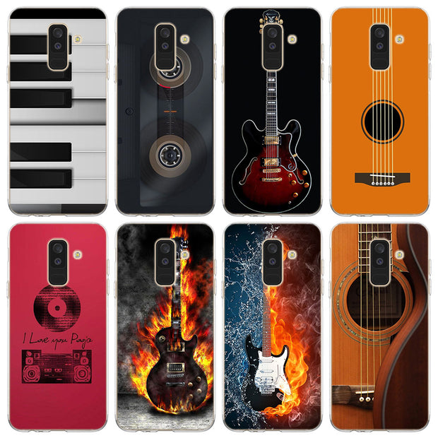 Music Guitar Phone Case For Samsung Galaxy J2 J3 J4 Plus J5 J6 Plus J7 J8 2018 Soft Silicone Cases Cover