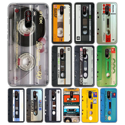 Vintage Magnetic Tape Cassette For Pocophone F1(6.18 Inch) Hard PC Phone Case For Poco F1 Mobile Phone Bag Cover Fundas Coque