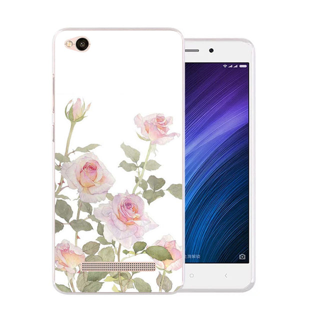 Xiaomi Redmi 5a Case,Silicon Beautiful Flowers 3D Relief Painting Soft TPU Back Cover For Redmi 5a Phone Fitted Bags Shell