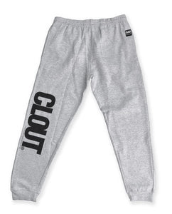 CLOUT Men's Header Joggers Sweatpants - Heather Gray w/ Black Print