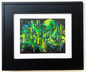 "9"" x 12"" Framed Original Painting by Chris Cristovoe - Acrylics & Watercolor"