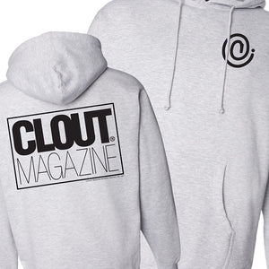 CLOUT Magazine Kids/Youth 'C symbol' Hooded/Hoodie Pullover Sweatshirt - Grey w/ Blk Print