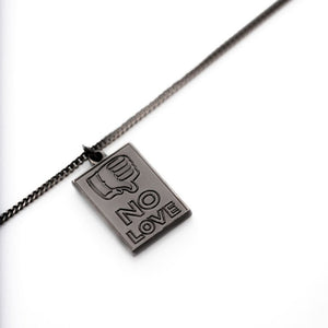 'NO LOVE' (Ruthenium) Chain w/ Pendant - By CLOUT x Fadavi & Co. x Sean Barton - CLOUT Magazine