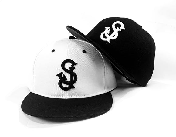 The 'SJ' San Jose SNAPBACKS in Both Black & White, by CLOUT Magazine