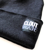 CLOUT MAGAZINE - Stacked Header Knit Beanie - BLACK