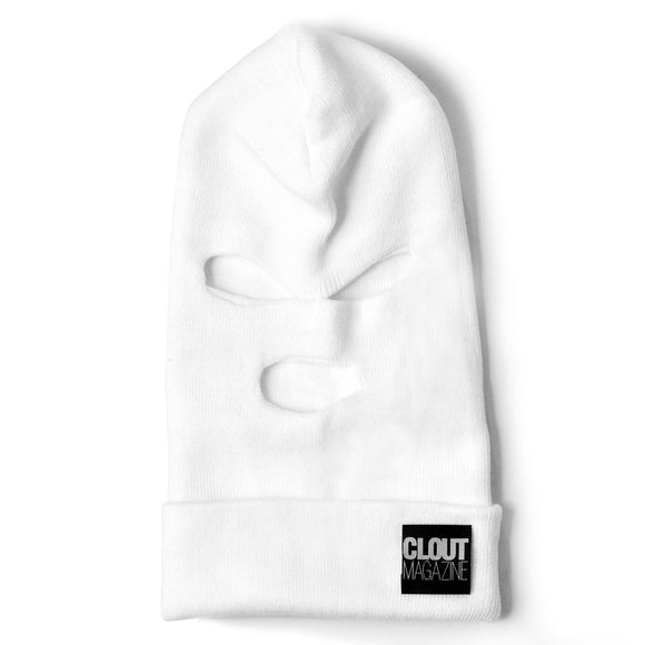 CLOUT MAGAZINE - Stacked Header Knit Ski Mask - WHITE