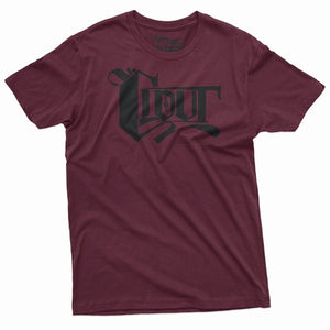 CLOUT OG Logo Men's T-shirt - Burgundy w/ Black Print