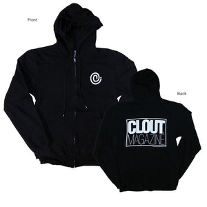 'C Symbol' with Clout Magazine back hit Zip Up Hoodie - Black w/ White Print – CLOUT Magazine