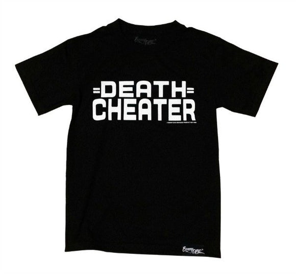 DEATH CHEATER Logo Men's T-Shirt - Black Shirt w White Ink