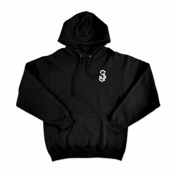 'SJ' Hooded/Hoodie Pullover Sweatshirt w/  CLOUT Magazine Logo on Back - Black with White Print