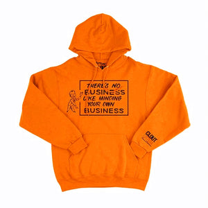 'There's No Business Like Minding Your Own Business' Hoodie - Camo/Safety Orange w/ Black - by CLOUT x SEAN BARTON.