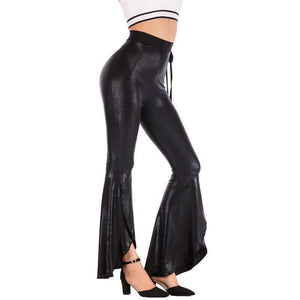 yoyoyoyoga.com Bottoms Black / S High Waist Belted Crack Pattern Casual Flared Pants