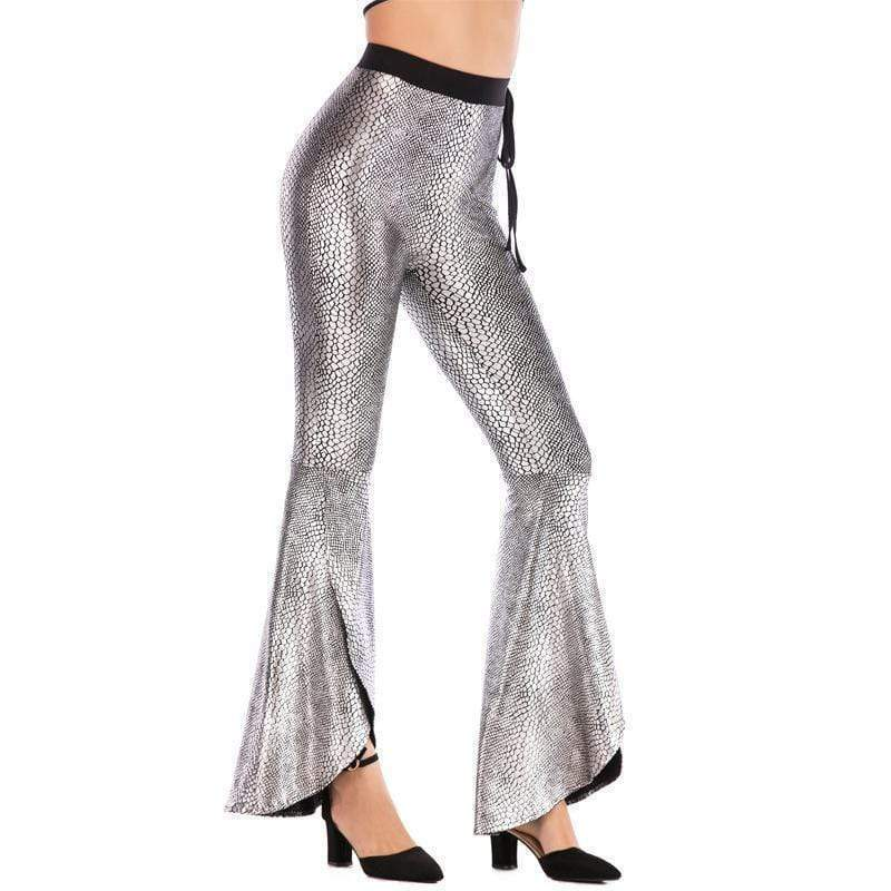 yoyoyoyoga.com Bottoms Silver / S High Waist Belted Crack Pattern Casual Flared Pants