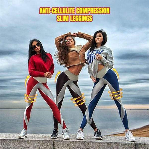 yoyoyoyoga Khaki / S Sports fitness anti-cellulite compression leggings