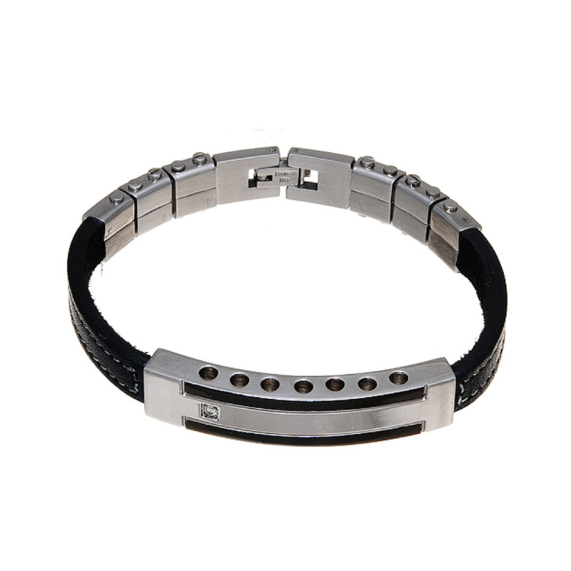 Men's Leather & Stainless Steel Bar Bracelet - Boutique109