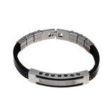 Men's Leather & Stainless Steel Bar Bracelet - Boutique109 Alpharetta Apparel and Accessories for Women