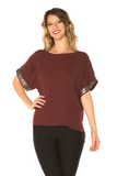 Sequin Detail Holiday Top Wine - Boutique109 Alpharetta Apparel and Accessories for Women