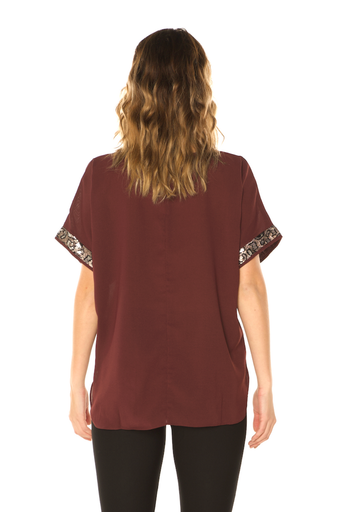 Sequin Detail Holiday Top Wine Back View - Boutique109 Alpharetta Apparel and Accessories for Women