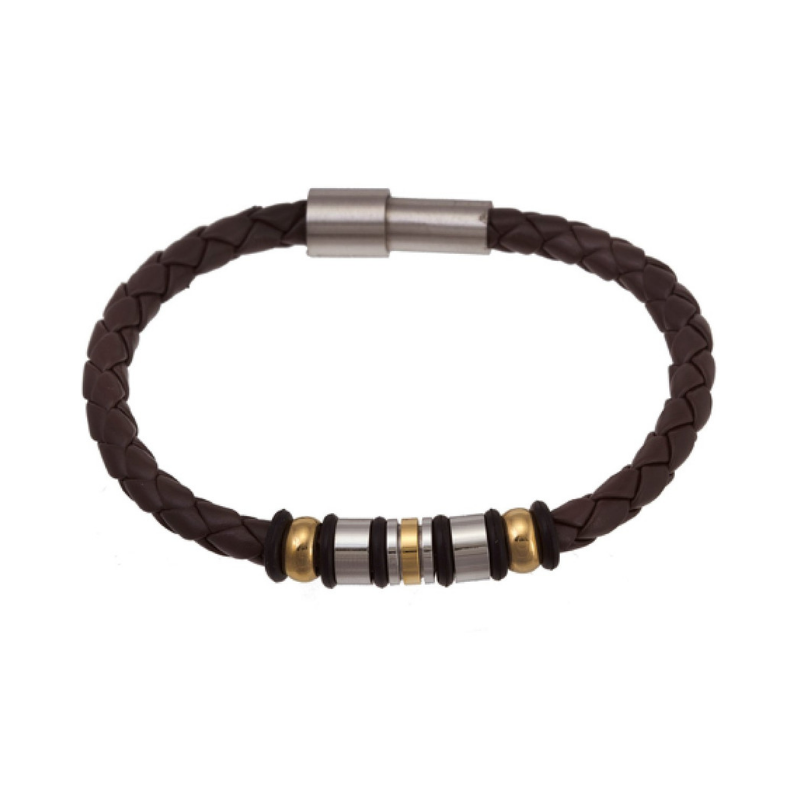 Braided Brown Leather & Stainless Steel Bracelet - Boutique109 Alpharetta Apparel and Accessories for Women