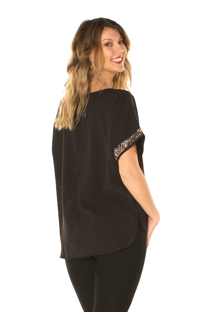 Sequin Detail Holiday Top Black Back View - Boutique109 Alpharetta Apparel and Accessories for Women