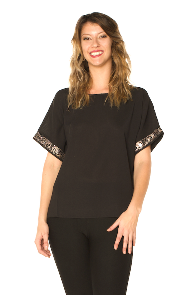 Sequin Detail Holiday Top Black - Boutique109 Alpharetta