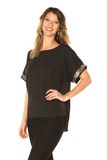 Sequin Detail Holiday Top Black Side View - Boutique109 Alpharetta Apparel and Accessories for Women