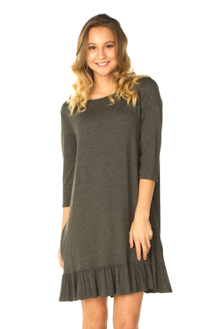 Ruffle Bottom Tunic Dress (Grey) - Boutique109 Alpharetta Apparel and Accessories for Women
