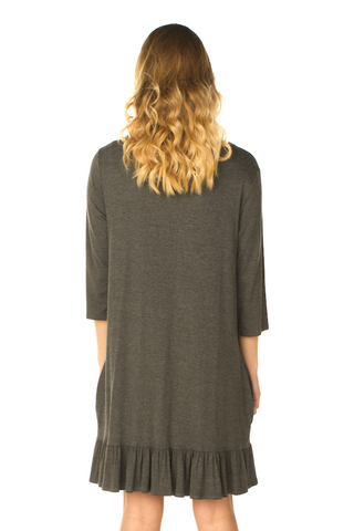 Ruffle Bottom Tunic Dress (Grey) Back View - Boutique109 Alpharetta Apparel and Accessories for Women