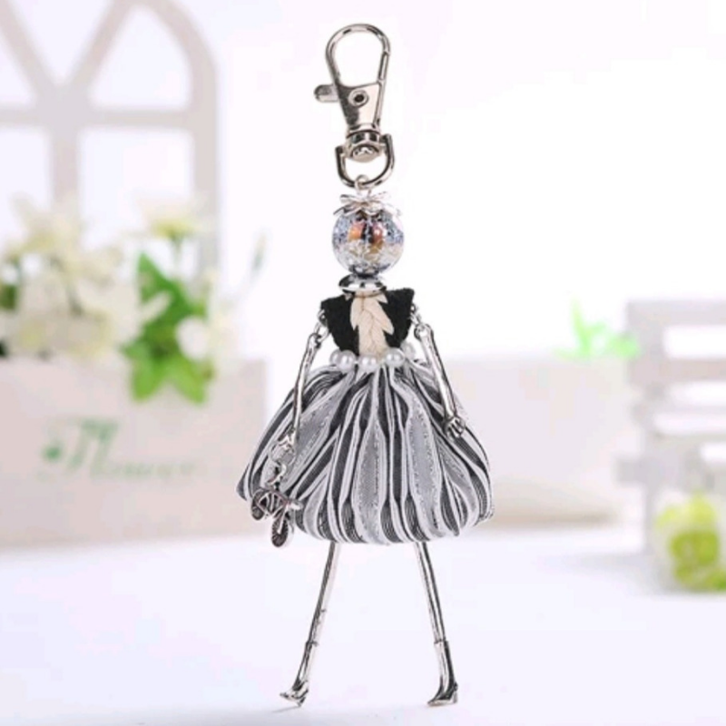 Girl Key Chain/Purse Charms (Silver/Black) - Boutique109