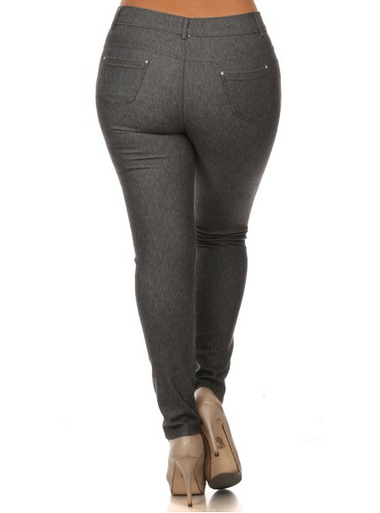 5 Pocket 4 Way Stretch Jeggings Plus Size (Grey) - Boutique109