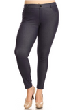 5 Pocket 4 Way Stretch Jeggings Plus Size (Navy) - Boutique109