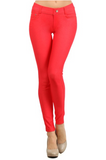 5 Pocket 4 Way Stretch Jeggings (Red) - Boutique109