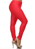 5 Pocket 4 Way Stretch Jeggings Plus Size (Red) - Boutique109
