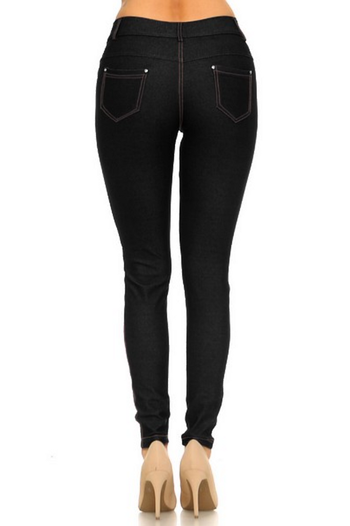 5 Pocket 4 Way Stretch Jeggings (Black) - Boutique109
