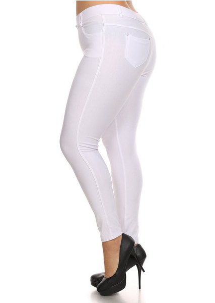 5 Pocket 4 Way Stretch Jeggings Plus Size (White) - Boutique109