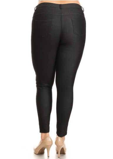 5 Pocket 4 Way Stretch Jeggings Plus Size (Black) - Boutique109