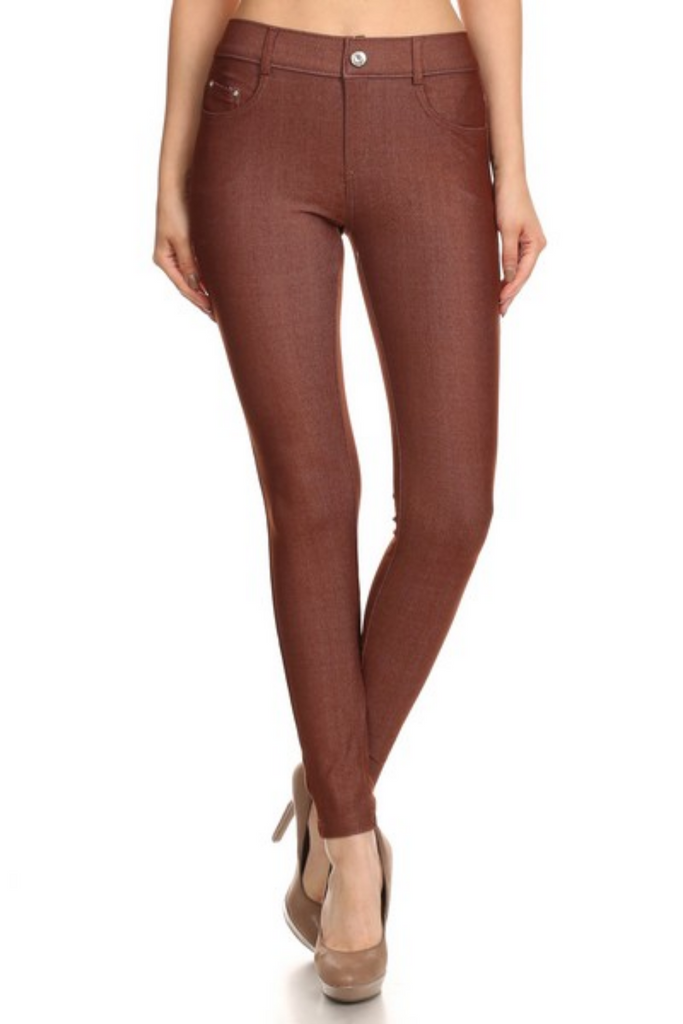 5 Pocket 4 Way Stretch Jeggings (Mocha) - Boutique109
