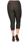 Plus Size Cropped Length Jeggings (Black) Back View - Boutique109 Alpharetta Apparel and Accessories for Women