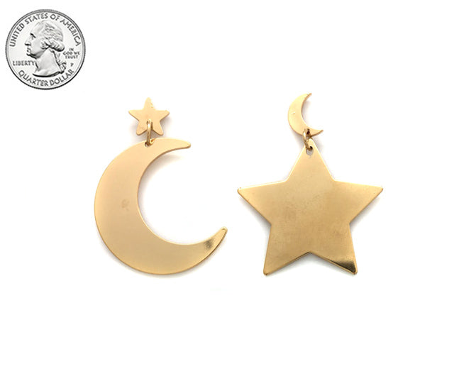 Moon & Star Gold Drop Earrings - Boutique109 Alpharetta Apparel and Accessories for Women
